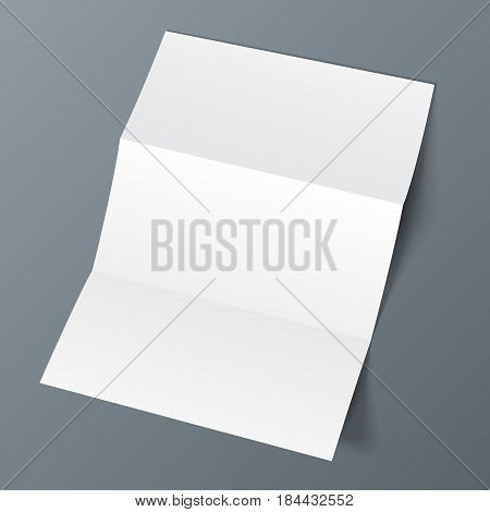 Blank Trifold Paper Leaflet, Flyer, Broadsheet, Flier, Follicle, Leaf A4 With Shadows. On Gray Background Isolated. Mock Up Template Ready For Your Design. Vector EPS10