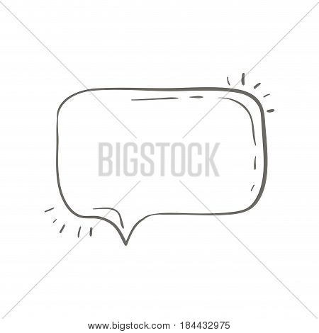 gray hand drawn rounded rectangle speech vector illustration