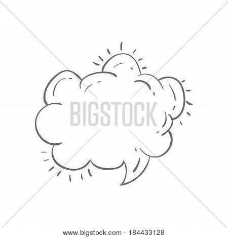 gray hand drawn speech in shape of cloud vector illustration