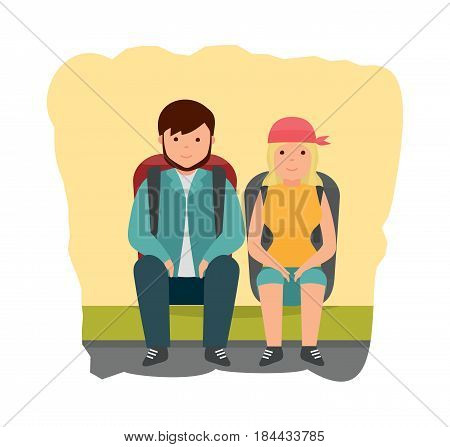 Summer vacation outdoor, camping and hiking. A young couple is resting on the sidelines, after walking on the city, with backpacks behind them. Modern vector illustration isolated in cartoon style.