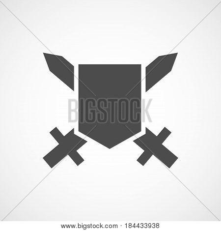 Vector flat shield icon. Isolated black icon for logo web site design app UI.