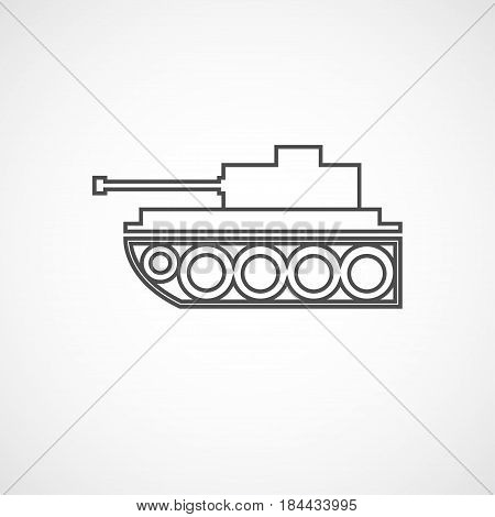 Vector flat tank icon. Isolated line icon for logo web site design app UI. Flat military illustration for posters cards book cover flyers banner web game designs.