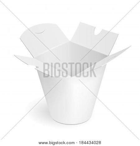 Asian, Chinese, Thai, Korean Cardboard Food Tub Box. Wok, Udon, Rice, Kimchi, Soba, Crystal, Glass Noodles. Illustration Isolated On White Background. Mock Up Template Ready For Your Design. Vector.