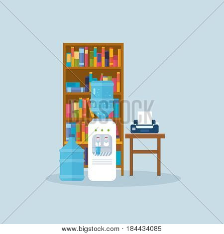 Water cooler, bottle in the office, workplace interior of the room, with working furniture, equipment. Modern vector illustration isolated.