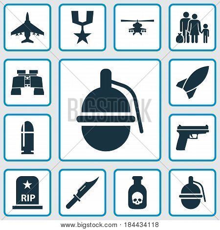 Warfare Icons Set. Collection Of Slug, Cutter, Missile And Other Elements. Also Includes Symbols Such As Fighter, Shot, Rip.