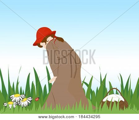 Girl in red hat looks at the ladybug. Basket standing beside. Vector illustration