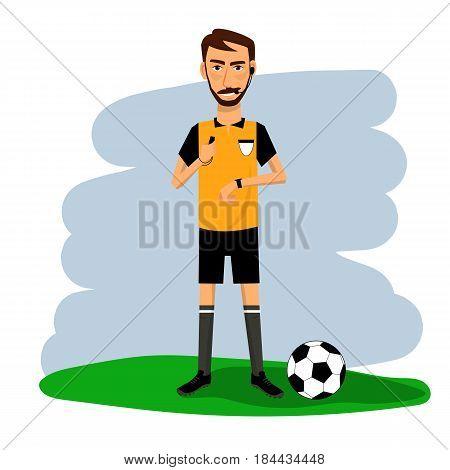 Vector illustration of soccer footbol referee. Cartoon character