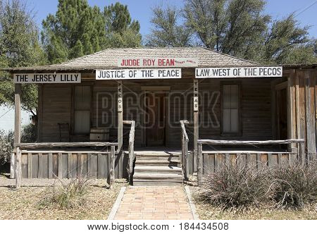 PECOS, TEXAS, MARCH 17. The West of the Pecos Museum on March 17, 2017, in Pecos, Texas. A Judge Roy Bean's Courthouse Replica at the West of the Pecos Museum in Pecos, Texas.