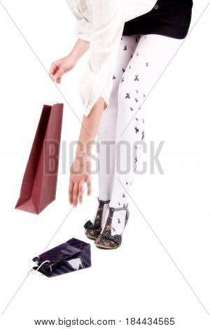 Legs in heels Woman legs wearing gift and heels clipping path