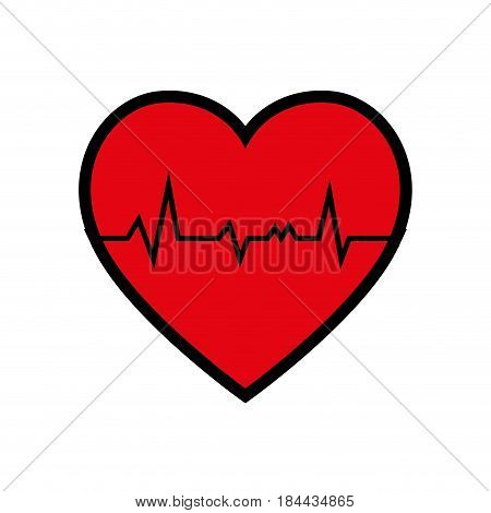 red cardio heart icon over white background. vector illustration