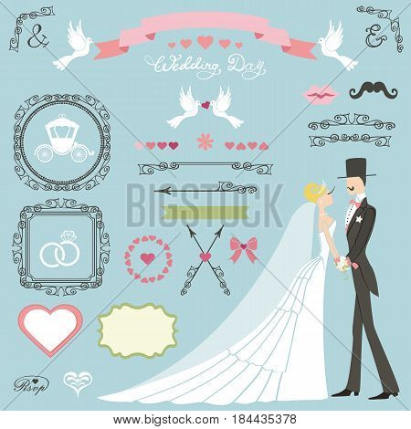 Wedding decor set.Bride in long dress, groom, couple and swrling borders, frames and ribbon, cute, icons, label. Invitation card designers toolkit template.Vintage Vector, flat, fashion