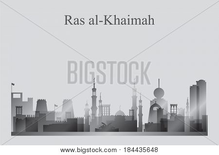 Ras Al-khaimah City Skyline Silhouette In Grayscale