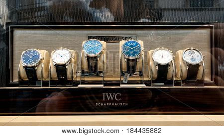 STRASBOURG FRANCE - APR 27 2017: Luxury watches collection in store made by IWC Schaffhausen on sale in hi-gh-end time fashion boutique.