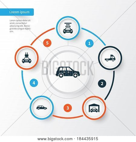 Automobile Icons Set. Collection Of Plug, Hatchback, Repairing And Other Elements. Also Includes Symbols Such As Hatchback, Repairing, Wagon.