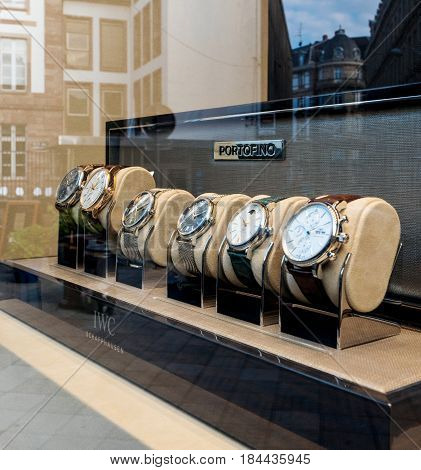 STRASBOURG FRANCE - APR 27 2017: Luxury watches collection in store made by IWC Schaffhausen on sale in hi-gh-end time fashion boutique - Portofino Collection