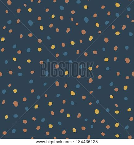 Sketchy Hand Draw Dots Seamless Pattern. Retro blue-yellow-gold graphic print. Vector dotted ornament.  furniture fabric textile.