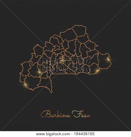 Burkina Faso Region Map: Golden Glitter Outline With Sparkling Stars On Dark Background. Detailed Ma