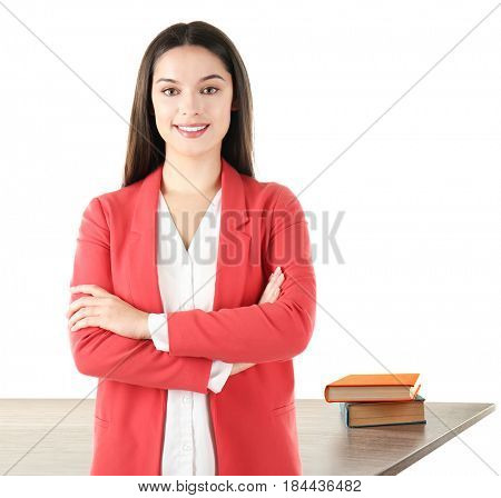 Young woman and books on background