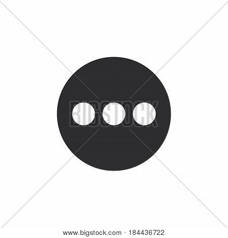 Menu more flat icon. Round simple button circular vector sign. Flat style design