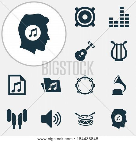 Audio Icons Set. Collection Of Megaphone, Sound, Meloman And Other Elements. Also Includes Symbols Such As Speaker, Headphone, Instrument.