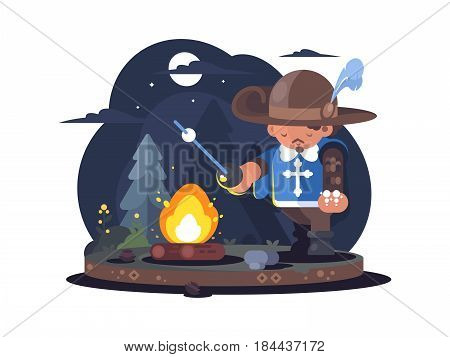 Musketeer in hat with feather near fire in forest. Vector illustration