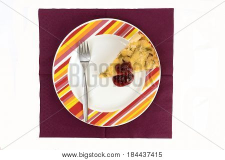 cowberry jam pie and fork on a napkin