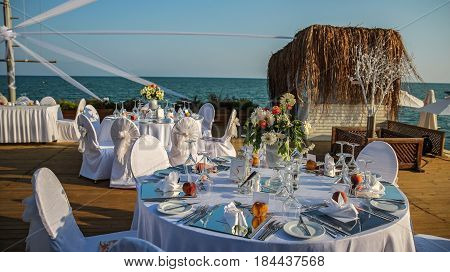 Outdoor Wedding Reception Setting. Wedding reception place ready for guests.