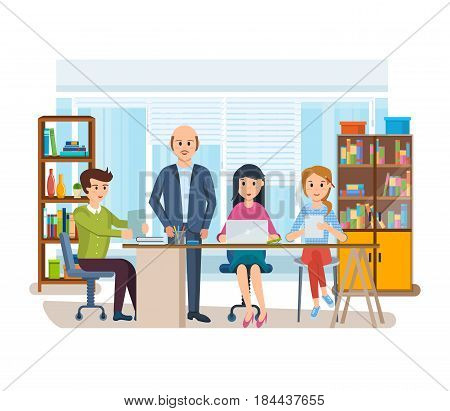 Set of business characters working in office, business man entrepreneur with colleagues, on background of interior the room. Modern vector illustration isolated in cartoon style.