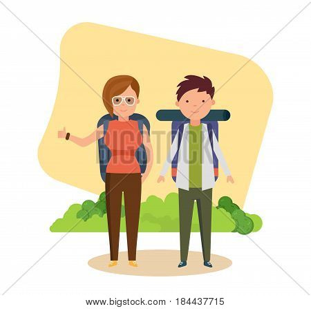 Summer vacation outdoor, camping and hiking. Tourists in adventure travel, go hiking and catch passing cars for movement. Modern vector illustration isolated in cartoon style.