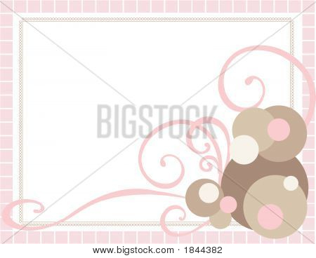 Pink Frame With Swirls And Spots