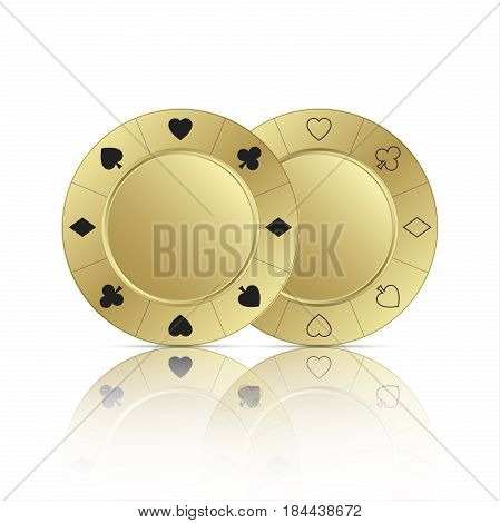Two gold casino chips with reflection isolated on white background vector illustration