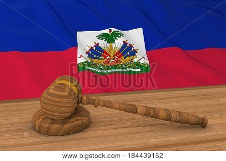 Haitian Law Concept - Flag Of Haiti Behind Judge's Gavel 3D Illustration