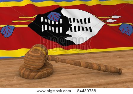 Swazi Law Concept - Flag Of Swaziland Behind Judge's Gavel 3D Illustration
