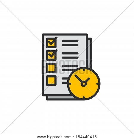 To do list with clock line icon filled outline vector sign linear colorful pictogram isolated on white. Time management symbol logo illustration