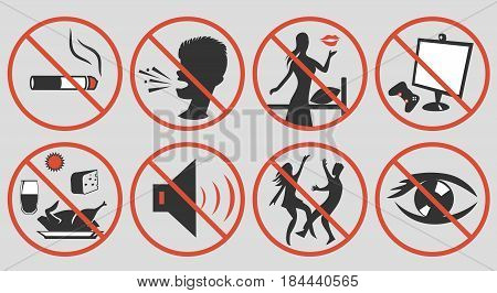 Ramadan rules signs. Some actions restricted during month of patience. Ramadan etiquette tips illustration. Stock vector.