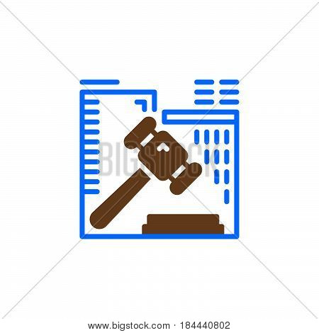 Auction hammer icon vector filled flat sign solid colorful pictogram isolated on white. Symbol logo illustration