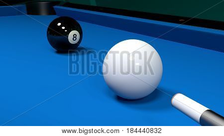 Billiard table with the white ball and the black eight before the shot 3D illustration