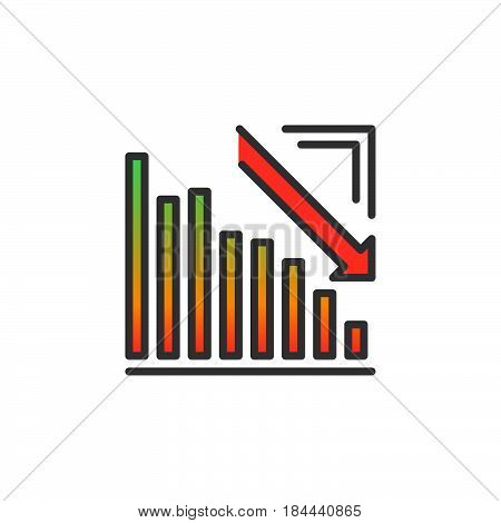 Arrow graph going down line icon filled outline vector sign linear colorful pictogram isolated on white. Crisis symbol logo illustration