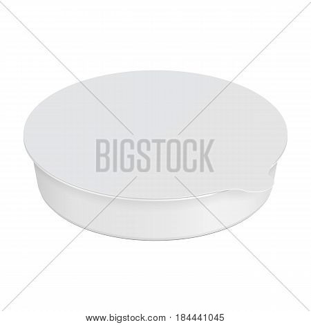 White Round Empty Blank Styrofoam Plastic Food Tray Can Container Box, Cover. Illustration Isolated On White Background. Mock Up Template Ready For Your Design. Vector EPS10