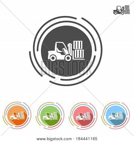 Forklifts icon in a flat style. Isolated on white background.
