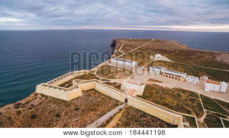 Sagres Fortress at evening aerial view, Portugal