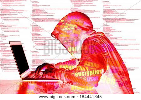 Red hooded hacker in front of computer code typing on laptop cybersecurity concept
