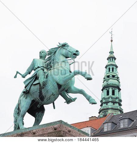 COPENHAGEN, DENMARK - JUNE 14: Old Town with Absalon statue in Copenhagen in Denmark on June 14, 2016.