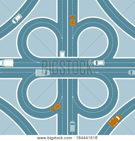 Car GPS monitoring top view concept with transport traffic on road junction vector illustration