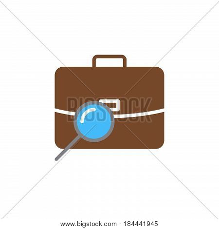 Find job portfolio search icon vector filled flat sign solid colorful pictogram isolated on white. Symbol logo illustration