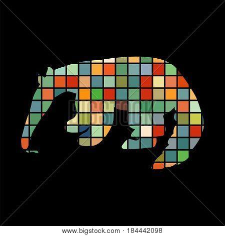 Anteater mammal color silhouette animal. Vector Illustrator.