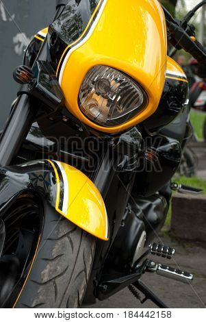 Yellow Motorcycle Front View