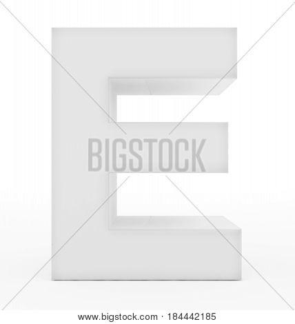 Letter E 3D White Isolated On White