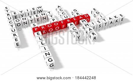 Crossword puzzle showing proofreading keywords as dice on a white proofread concept perspective view 3D illustration