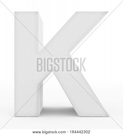 Letter K 3D White Isolated On White
